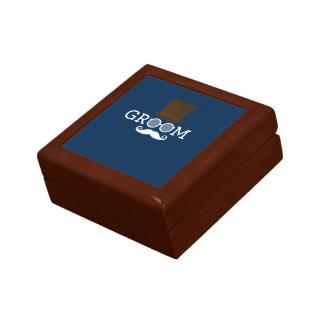 Lustiger Bräutigam-Schnurrbart u. Hut für das Geschenkbox