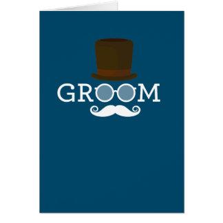 Lustiger Bräutigam-Schnurrbart u. Hut für das Karte