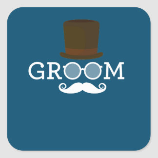 Lustiger Bräutigam-Schnurrbart u. Hut für das Quadratischer Aufkleber