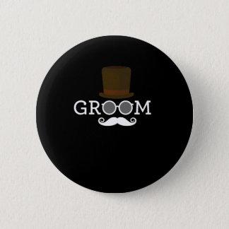 Lustiger Bräutigam-Schnurrbart u. Hut für das Runder Button 5,7 Cm