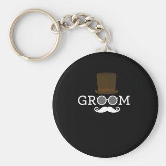 Lustiger Bräutigam-Schnurrbart u. Hut für das Schlüsselanhänger