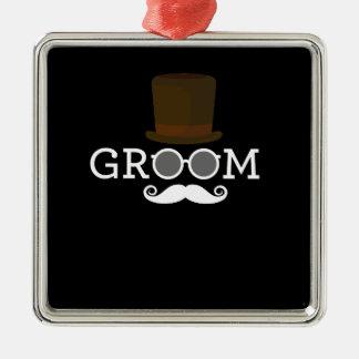 Lustiger Bräutigam-Schnurrbart u. Hut für das Silbernes Ornament