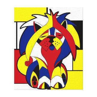 Lustiger bunter geometrischer Buntglas-Hund Leinwanddruck