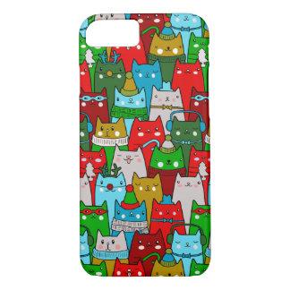 Lustiger bunter niedlicher Weihnachtskatzen iPhone iPhone 7 Hülle