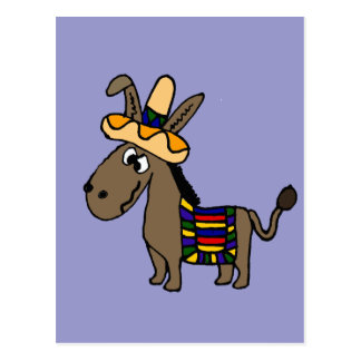 Lustiger Burro mit Sombrero und Decke Postkarte