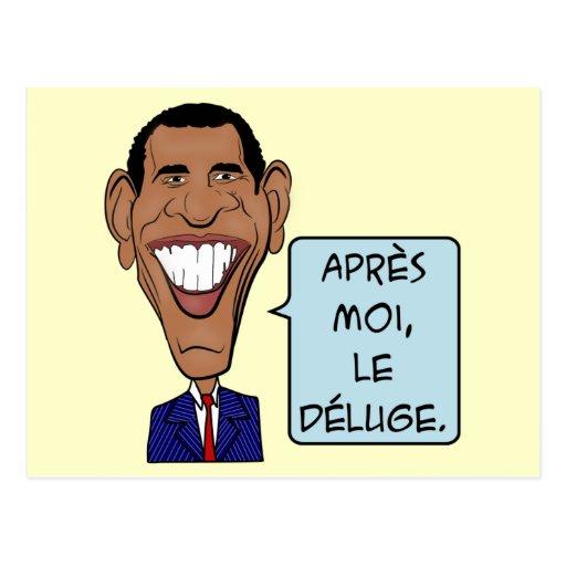 Lustiger Cartoon Barack Obama nach mir die Flut Postkarte
