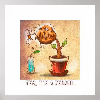lustiger Cartoon der vegetarischen Pflanze Poster