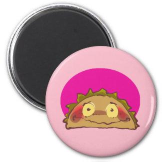 lustiger Cartoon des schüchternen Taco Runder Magnet 5,1 Cm