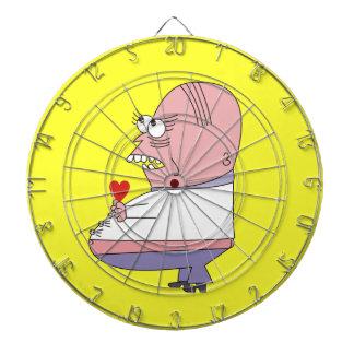 Lustiger Cartoon-Mann mit HerzDartboards Dartscheibe