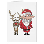 Lustiger Cartoon Sankt und Rudolph Karte