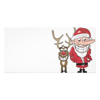 Lustiger Cartoon Sankt und Rudolph Photokarte