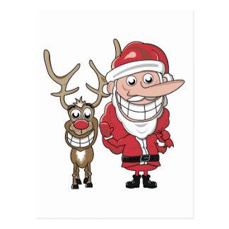 Lustiger Cartoon Sankt und Rudolph Postkarten