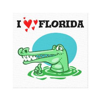 lustiger Cartoon süßen Krokodils Floridas der Leinwanddruck