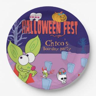 Lustiger ChicoChihuahuahalloween-Platten-Cartoon Pappteller