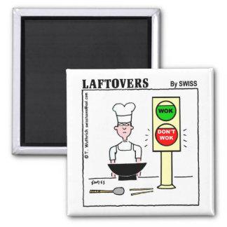 Lustiger chinesischer CuisineWok Laftovers Cartoon Quadratischer Magnet