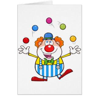 Lustiger Clown-jonglierende Mitteilungskarten Mitteilungskarte
