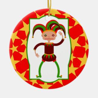 Lustiger Clown vom Mittelalter Rundes Keramik Ornament