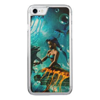 Lustiger Delphin, der mit niedlicher Meerjungfrau Carved iPhone 8/7 Hülle