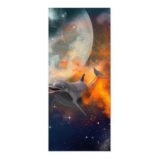 Lustiger Delphin im Universum 10,2 X 23,5 Cm Einladungskarte