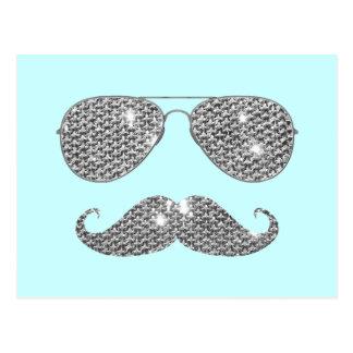 Lustiger Diamant-Schnurrbart mit Gläsern Postkarte