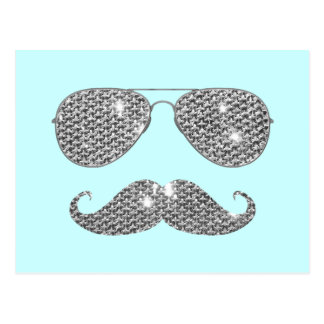 Lustiger Diamant-Schnurrbart mit Gläsern Postkarten