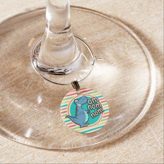 Lustiger Dinosaurier; Helle Regenbogen-Streifen Weinglas Anhänger