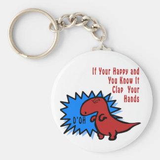 Lustiger Dinosaurier kann nicht klatschen Schlüsselanhänger