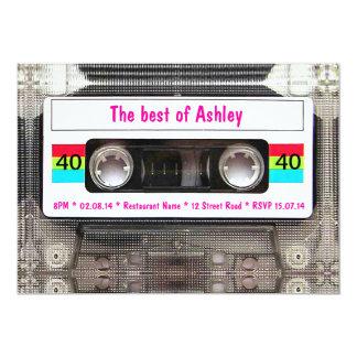 Lustiger DJ-80er Kassetten-Band-40. Geburtstag 12,7 X 17,8 Cm Einladungskarte