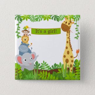 Lustiger Dschungel-Baby-Tier-Knopf Quadratischer Button 5,1 Cm