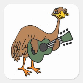 Lustiger Emu-Vogel, der Gitarren-Cartoon spielt Quadratischer Aufkleber