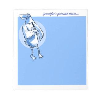 lustiger Entenstand auf Ecke und Griffe zeichnen Notizblock