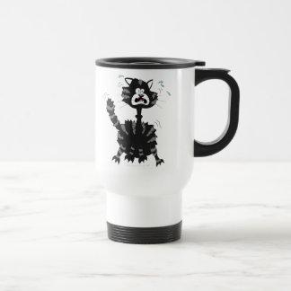 Lustiger erschrockener schwarze Katzen-Cartoon Hal Kaffee Tassen
