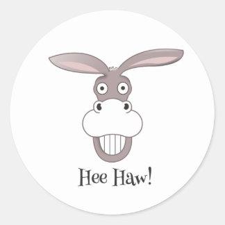 Lustiger Esel-Gesichts-Cartoon-Aufkleber Runder Aufkleber