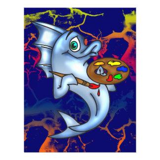 Lustiger Fisch-Künstler 21,6 X 27,9 Cm Flyer