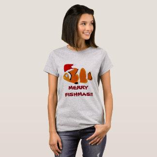 """Lustiger Fische """"fröhliches Fishmas"""" T - Shirt"""