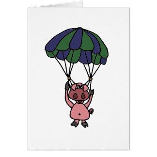Lustiger Fliegen-SchweinParachutist Grußkarte