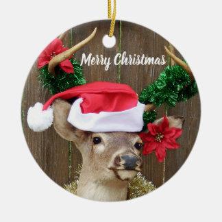 Lustiger frohe Weihnacht-Dollar-Weißwedelhirsch Keramik Ornament