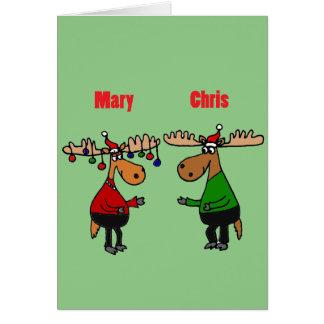 Lustiger fröhlicher Christmoose Cartoon Karte