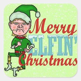 Lustiger fröhlicher ElfenweihnachtenBah Humbug Quadratischer Aufkleber