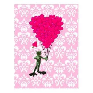 Lustiger Frosch-Cartoon u. rosa Herz auf Damast Postkarten