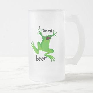 lustiger Frosch-ICh Bedarf beer-1 Mattglas Bierglas