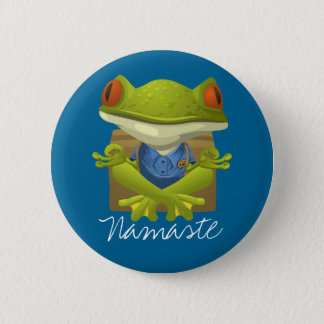 Lustiger Frosch-meditierender Cartoon Runder Button 5,7 Cm