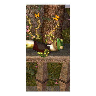 Lustiger Gecko Foto Karten Vorlage