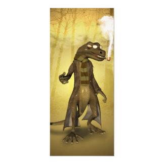 Lustiger Gecko mit Rohr 10,2 X 23,5 Cm Einladungskarte