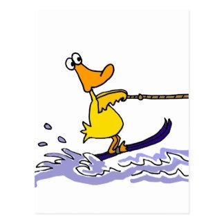 Lustiger gelber Enten-Wasserski Postkarte