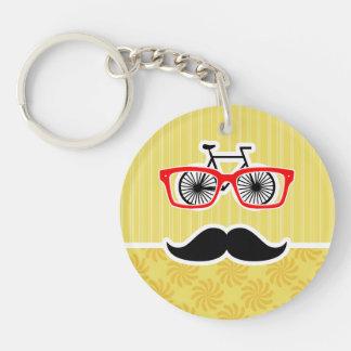 Lustiger gelber Hipster Schlüssel Anhänger