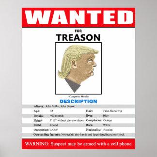 Lustiger gewollter Trumpf für Verrat Poster