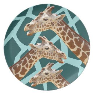 Lustiger Giraffen-Druck-aquamarine blaue wildes Teller