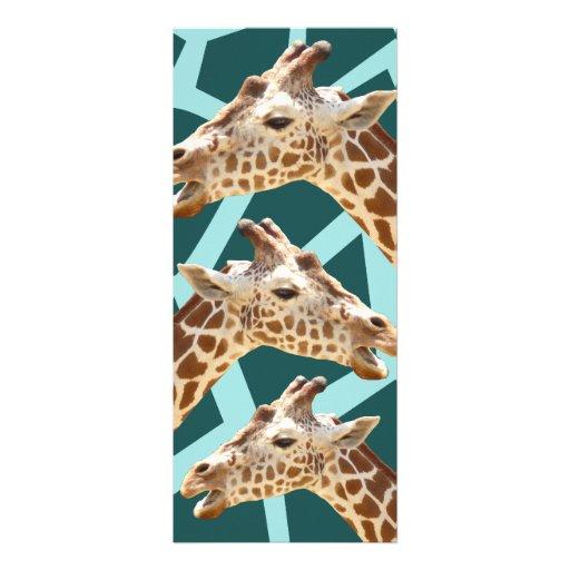 Lustiger Giraffen-Druck-aquamarine blaue wildes Ti Einladungen