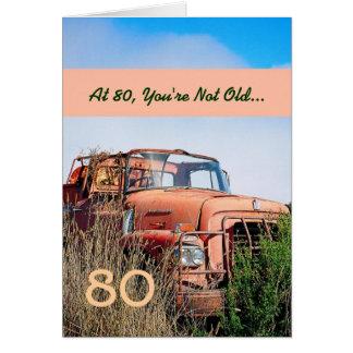 LUSTIGER glücklicher 80. Geburtstags-Vintager LKW Karte